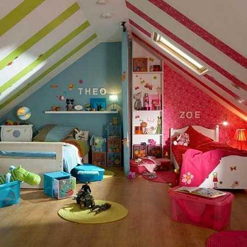 ceiling-painting-ideas-stripes-kids-rooms-17 Ceiling design for your kids bedroom