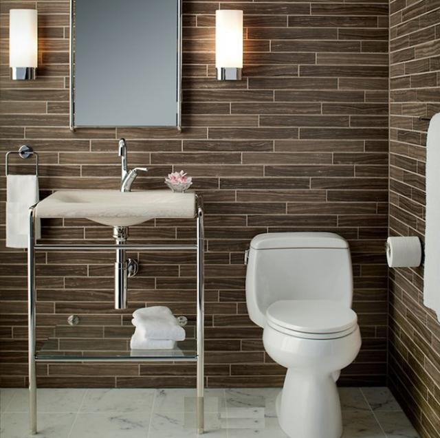 Gorgeous-2-x-16-Dark-Brown-Marble-Bathroom-Wall-Tile How to select tiles for your bathroom?