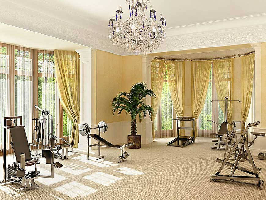 Luxury-Home-Gym-Ideas-with-Chandelier How to select right chandelier for your home?