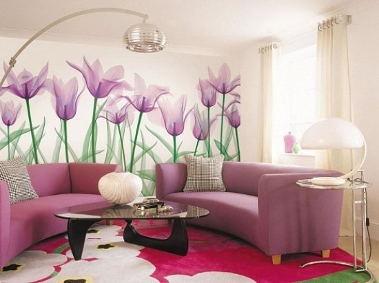 living-room-wall-decorating-purple-color-theme